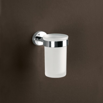 Toothbrush Holder Wall Mounted Frosted Glass Toothbrush Holder With Chrome Mounting 3710-13 Gedy 3710-13