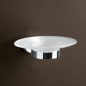 Wall Mounted Frosted Glass Soap Dish With Chrome Mounting