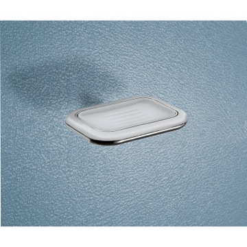 Soap Dish Wall Mounted Frosted Glass Soap Dish With Two Tone Chrome Holder 4311-21 Gedy 4311-21