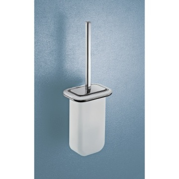 Wall Mounted Frosted Glass Toilet Brush with Two Tone Chrome Frame