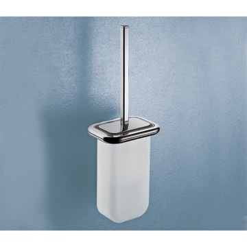 Toilet Brush Wall Mounted Frosted Glass Toilet Brush with Polished Chrome Frame 4333-03-13 Gedy 4333-03-13