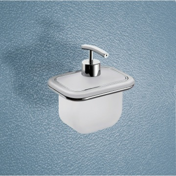 Soap Dispenser Wall Mounted Frosted Glass Soap Dispenser With Two Tone Chrome Mounting 4381-21 Gedy 4381-21