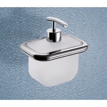 Soap Dispenser Wall Mounted Frosted Glass Soap Dispenser With Polished Chrome Mounting 4381-13 Gedy 4381-13