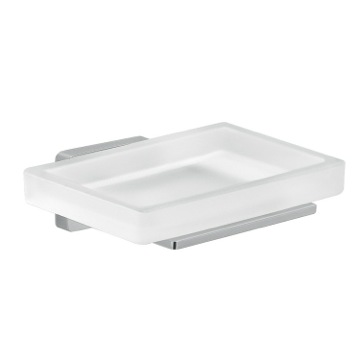 Frosted Glass Soap Dish With Chrome Mounting