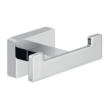 Square Chrome Wall Mounted Double Hook