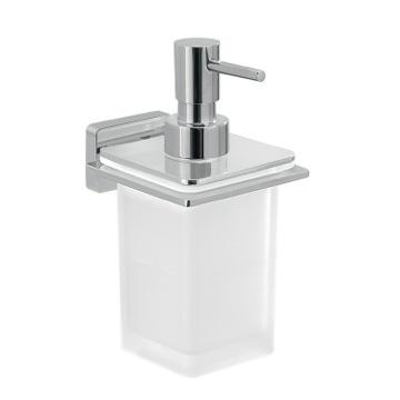 Glass Soap Dispenser With Chrome Wall Mounted Holder