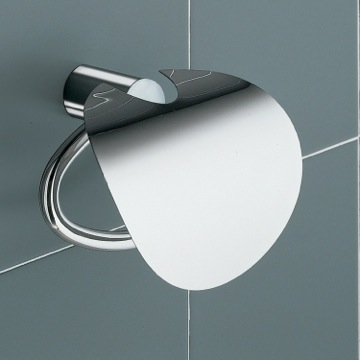 White and Chrome Toilet Paper Holder with Cover
