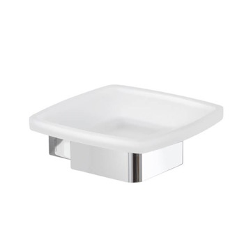 Wall Mounted Frosted Glass Soap Dish With Chrome Base