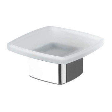 Square Frosted Glass Soap Dish with Polished Chrome Base