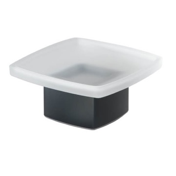 Square Frosted Glass Soap Dish with Matte Black Base