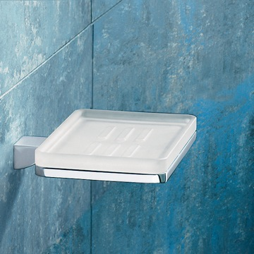 Wall Mounted Square Frosted Glass Soap Dish With Chrome Mounting