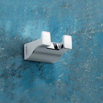 Bathroom Hook Square Polished Chrome Double Hook 5726-13 Gedy 5726-13