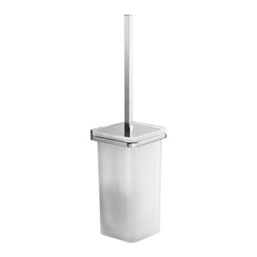 Wall Mounted Square White Glass Toilet Brush Holder
