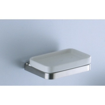 Soap Dish, Contemporary, Matte White, Stainless Steel,Ceramic, Gedy Seventy Collection, Gedy 6111-S2