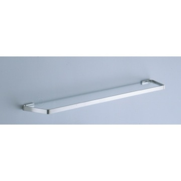 24 Inch Frosted Glass Bath Shelf with Satin Nickel Wall Mounts
