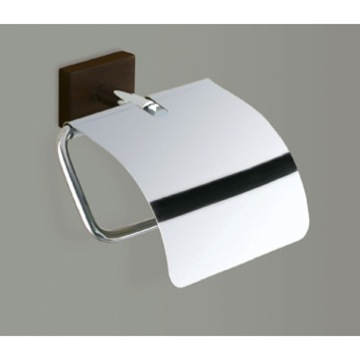 Chrome Toilet Roll Holder With Cover and Wood Base