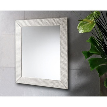 Vanity Mirror Pearl Faux Leather Mirror with Vertical or Horizontal Mounting 6700-42 Gedy 6700-42