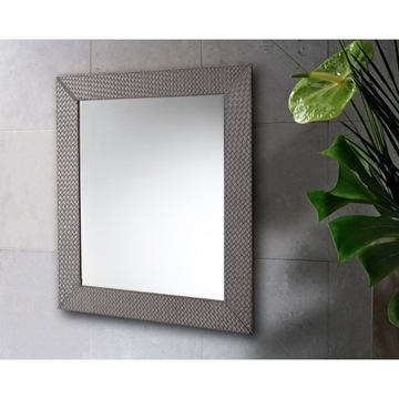 Vanity Mirror Vertical or Horizontal Mirror with Old Silver Faux Leather Frame 6700-77 Gedy 6700-77