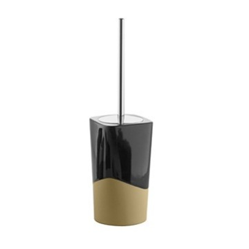 Black and Mustard Pottery Toilet Brush Holder