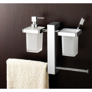 Towel Holder Wall Mounted Rack With Toothbrush Holder, Soap Dispenser, and Sliding Towel Rails Chrome 7637-13 Gedy 7637-13