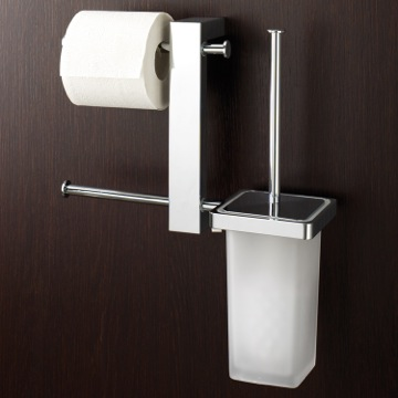 Bathroom Butler Wall Mount Chrome Rack With Tissue Holder and Toilet Brush 7640-13 Gedy 7640-13