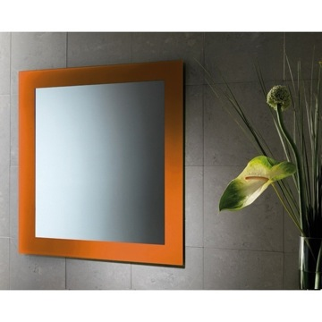 24 x 28 Inch Vanity Mirror With Orange Lacquered Frame