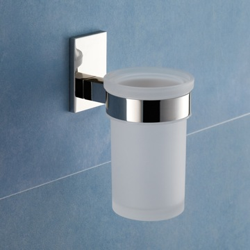 Wall Mounted Frosted Glass Toothbrush Holder With Chrome Mounting