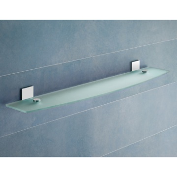 Round Chrome Bathroom Shelf With Frosted Glass