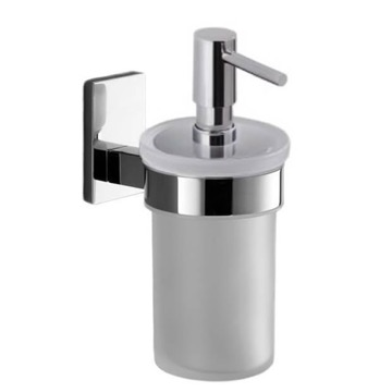 Soap Dispenser Wall Mounted Frosted Glass Soap Dispenser With Chrome Mounting 7881-13 Gedy 7881-13