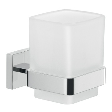 Frosted Glass Wall Toothbrush Holder With Chrome Mounting