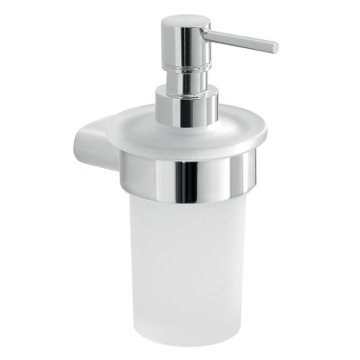 Frosted Glass Soap Dispenser With Chrome Mounting