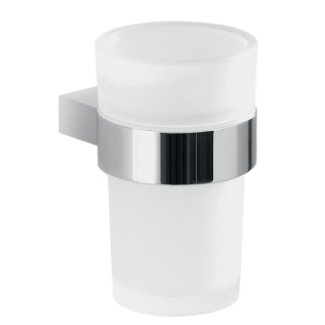 Wall Mount Frosted Glass Toothbrush Holder With Chrome Mounting