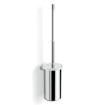 Wall Mounted Chrome Toilet Brush Holder with Telescopic Handle