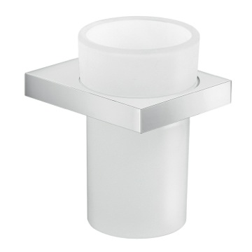 Round Wall Mounted Cromall and Frosted Glass Tooth Brush Holder