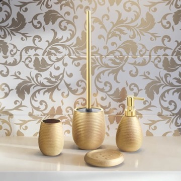 Gold Four Piece Bathroom Accessory Set