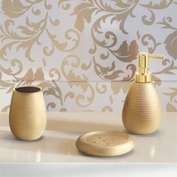 Gold Three Piece Bathroom Accessory Set