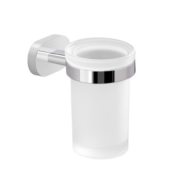 Chromed Aluminum and Frosted Glass Wall Mounted Toothbrush Holder