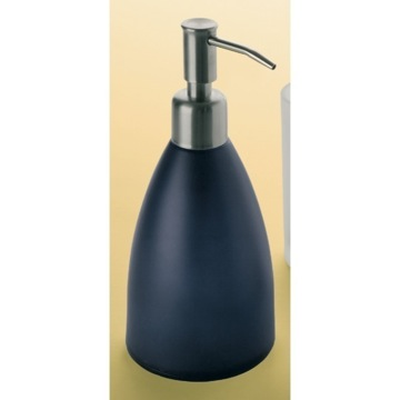 Round Blue Frosted Glass Soap Dispenser