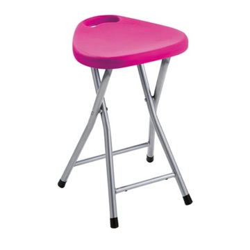 Chrome Bathroom Stool With Pink Seat