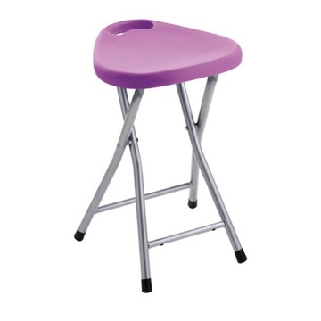Chrome Bathroom Stool With Lilac Seat