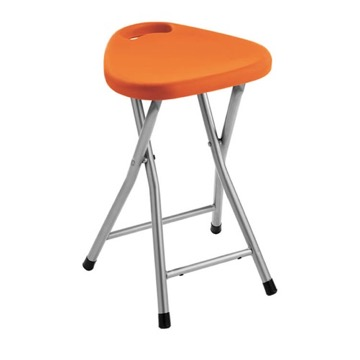 Chrome Bathroom Stool With Orange Seat