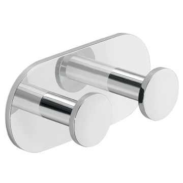 Chromed Aluminum Adhesive Mounted Double Bathroom Hook