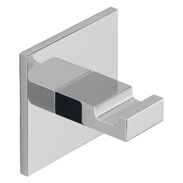 Adhesive Mounted Square Polished Chrome Aluminum Hook