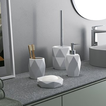 Dalia White Pottery Bathroom Accessory Set