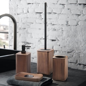 Walnut Four Piece Bathroom Accessory Set