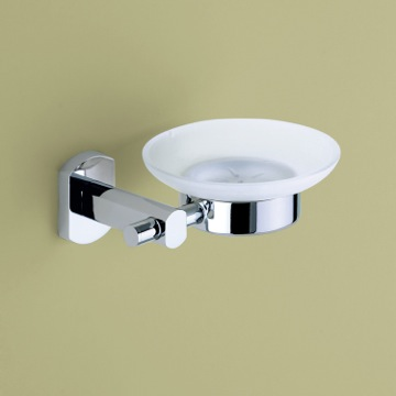 Wall Mounted Frosted Glass Soap Holder with Chrome Mounting