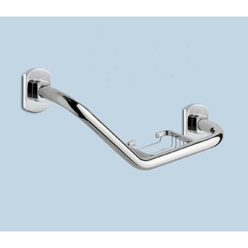 Polished Chrome Shower Grab Bar With Soap Holder