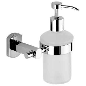 Wall Mounted Round Frosted Glass Soap Dispenser