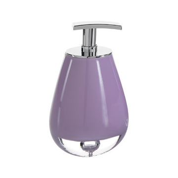 Round Glass Soap Dispenser in Lilac Finish