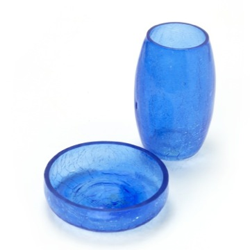Blue Crackled Glass Soap Dish and Toothbrush Holder Set